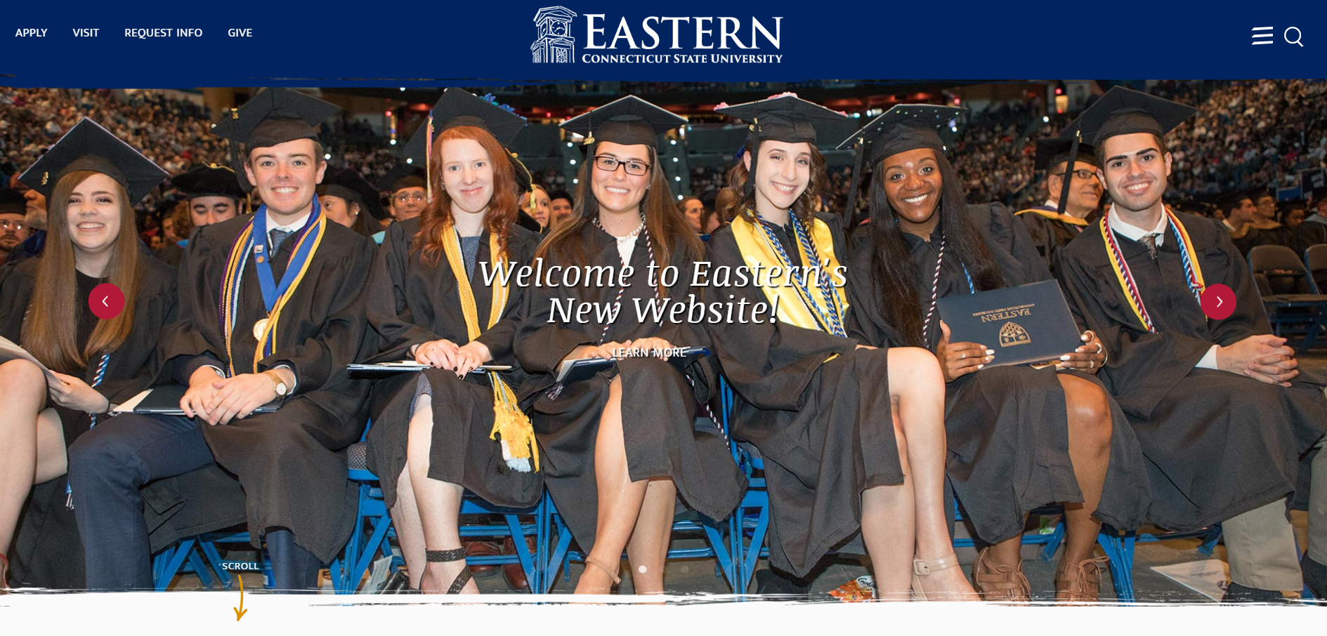 Eastern Connecticut State University website homepage