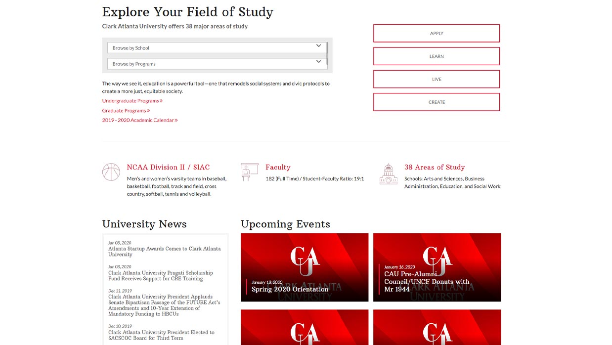 CAU Homepage Design Example