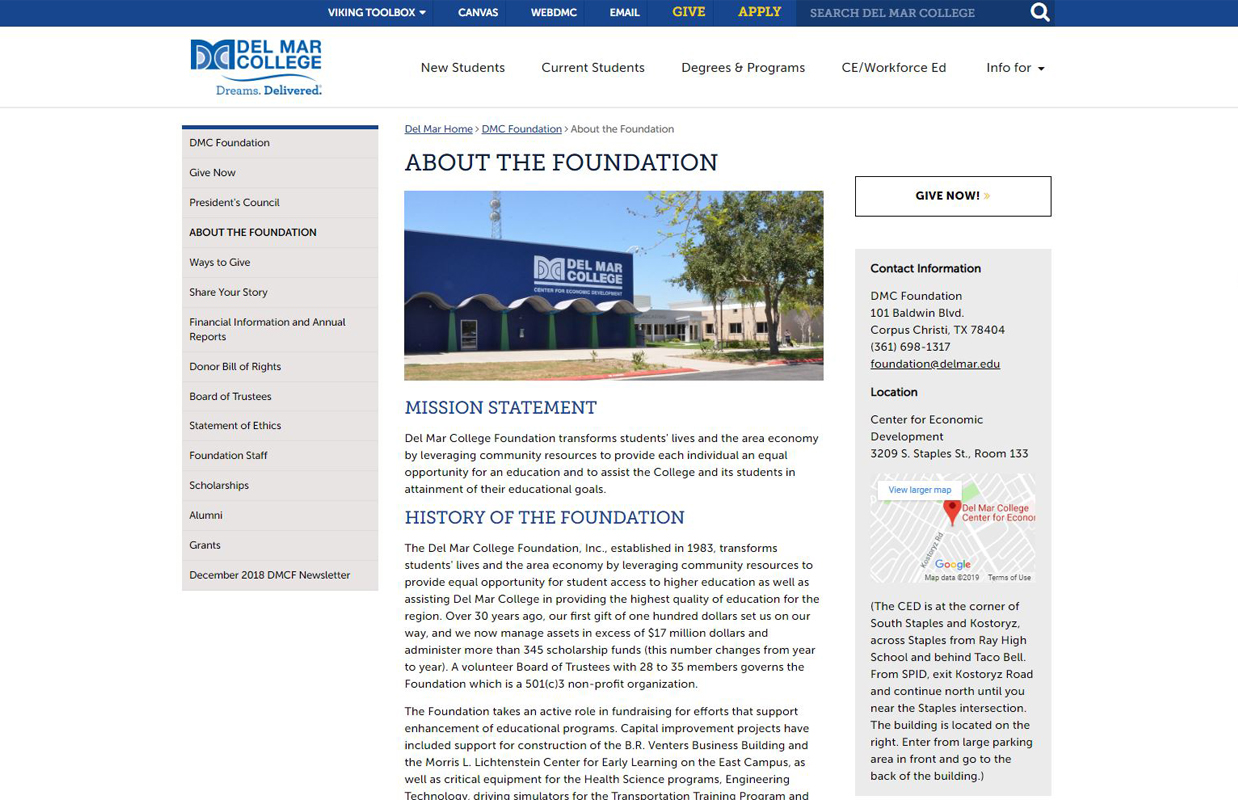 Del Mar College Foundation Page Layout