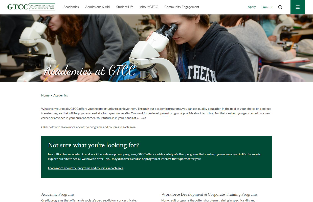 GTCC Website Homepage Example 1