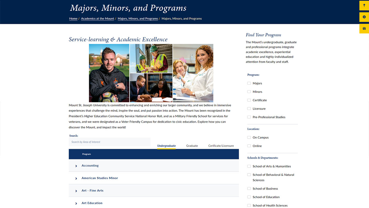 MSJ Academic Programs Page Design Example