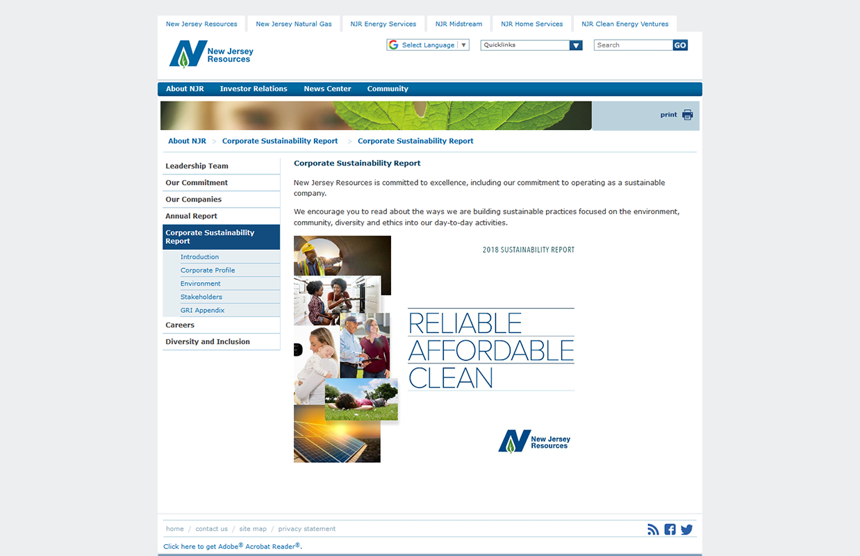 NJR Sustainability Page Layout