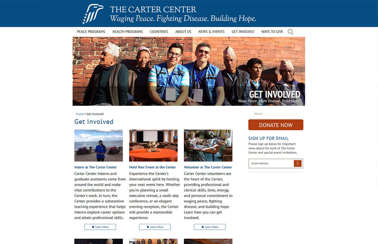 The Carter Center's Get Involved page layout