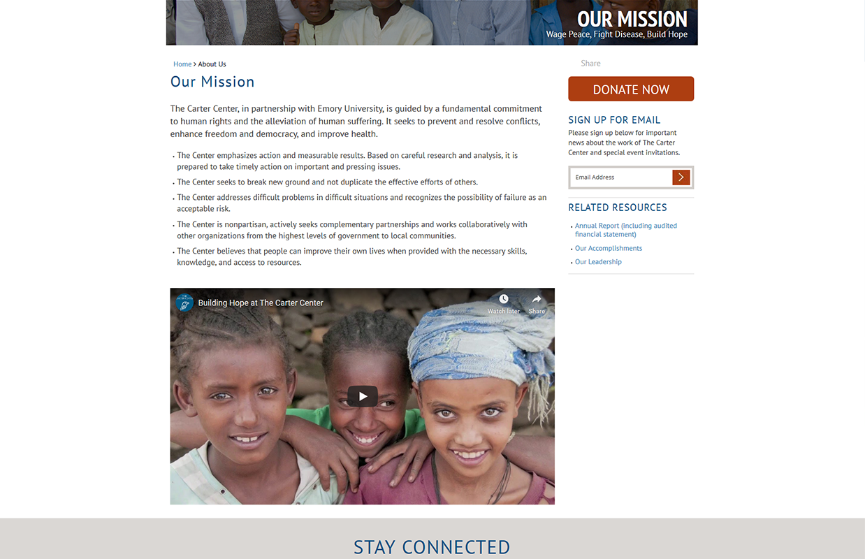 The Carter Center's Our Mission page layout