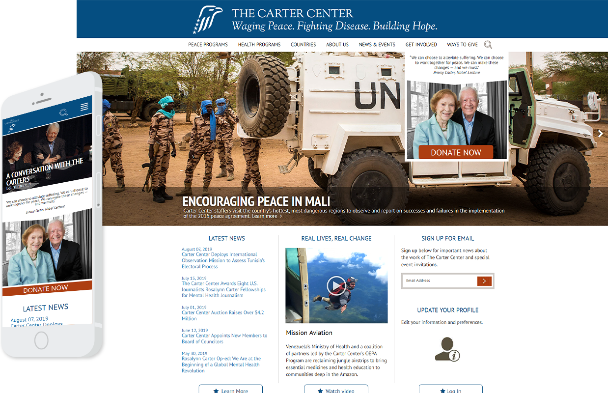 The Carter Center responsive website example