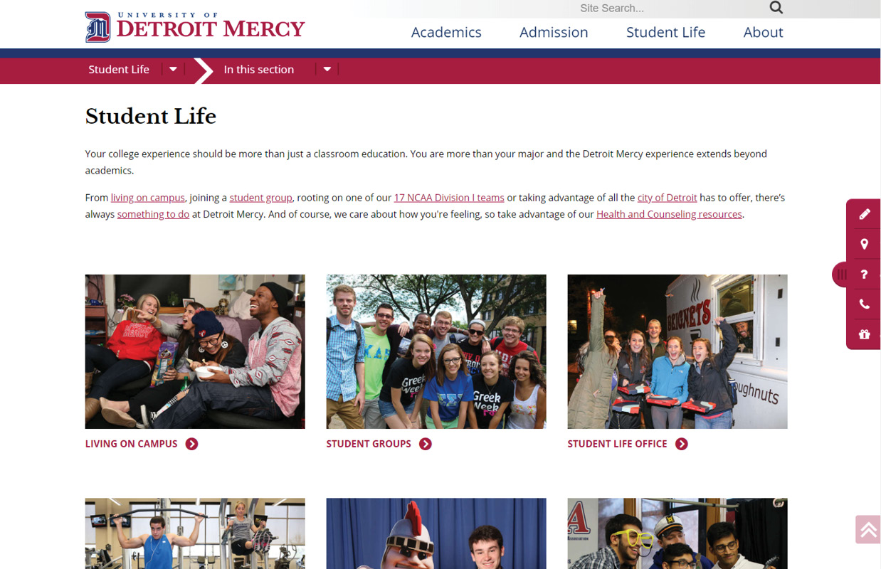 UD Mercy Student Life Page Layout