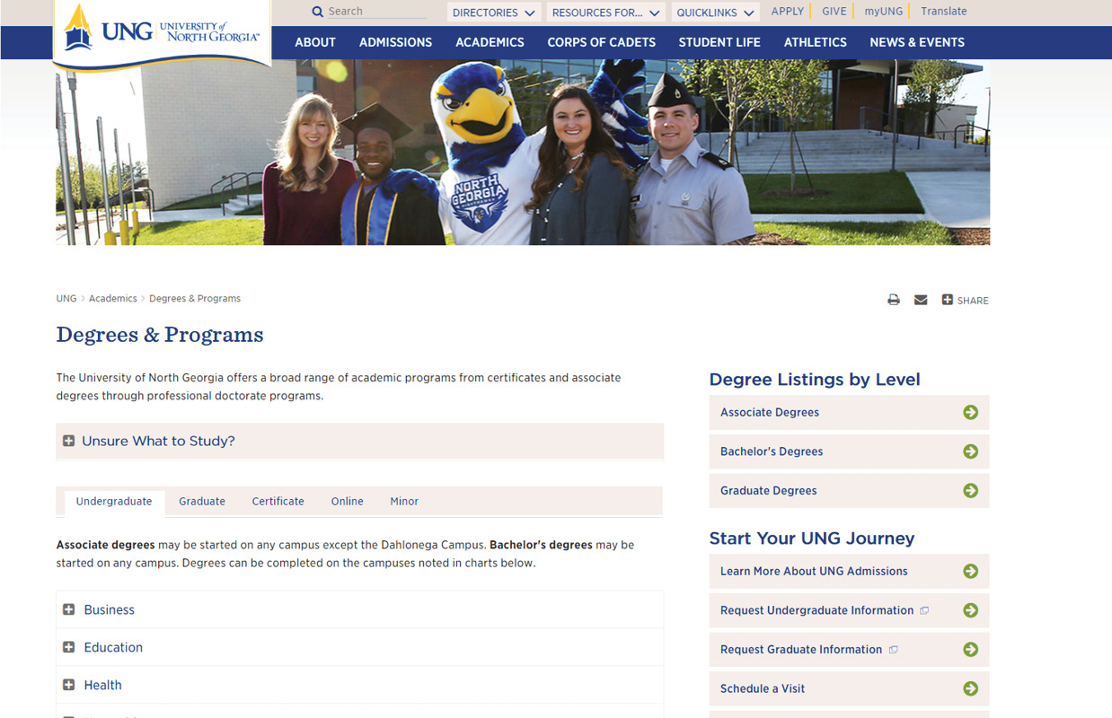 UNG Programs Listing Page Layout